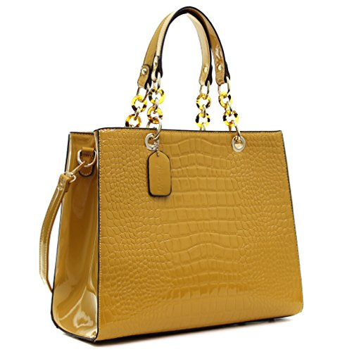 Dasein Patent Faux Leather Croco Embossed Chain Strap Satchel Croco Embossed Leather Tote Bag