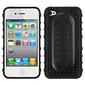 Fits Apple iPhone 4 4S Hard Plastic Snap on Cover Black Massage Dots Snap Tail Stand AT&T, Verizon (does NOT fit Apple iPhone or iPhone 3G/3GS or iPhone 5)
