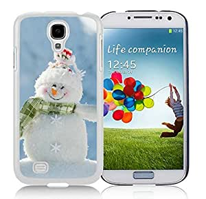 Personalized Samsung S4 TPU Protective Skin Cover Happily Smile Snowman White Samsung Galaxy S4 i9500 Case 1