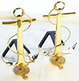 Mayer Mill Brass small anchor andiron - Pair