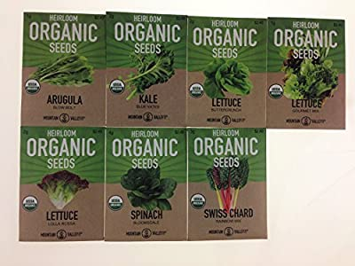 Organic, Heirloom, Non-GMO, Garden Seeds - 7 Varieties of Vegetable Leafy Power Greens - Arugula, Kale, Lolla Rossa Lettuce, Buttercrunch Lettuce, Gourmet Mix Lettuce, Spinach, Swiss Chard