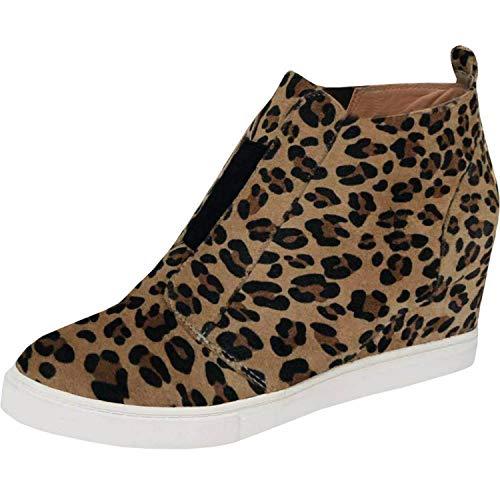 (Ermonn Womens Wedge Sneakers Fashion High Top Side Zipper Platform Booties Flat Shoes (6 M US, Light Leopard))