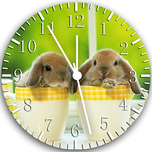 (Borderless Cute Bunny Rabbit Frameless Wall Clock W116 Nice for Decor Or Gifts)