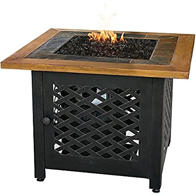 Endless Summer, GAD1391SP, LP Gas Outdoor Firebowl with Slate and Faux Wood Mantel - 30,000 BTU stainless steel burner Hidden control panel with electronic ignition Slate tile mantle with steel bowl and wicker base design - patio, fire-pits-outdoor-fireplaces, outdoor-decor - 51ep6bgYpNL. SS400  -