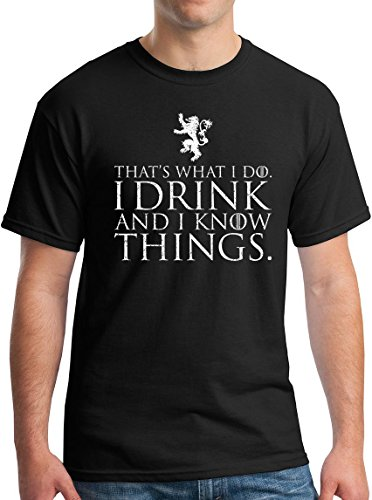 (Winterfell I Drink and I Know Things T-Shirt - Funny Tyrion Lannister GoT Tee Black)