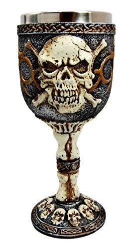 Ebros Skeleton Cross Bones Cracked Skulls Ossuary Graveyard Wine Goblet Chalice Figurine 6 -
