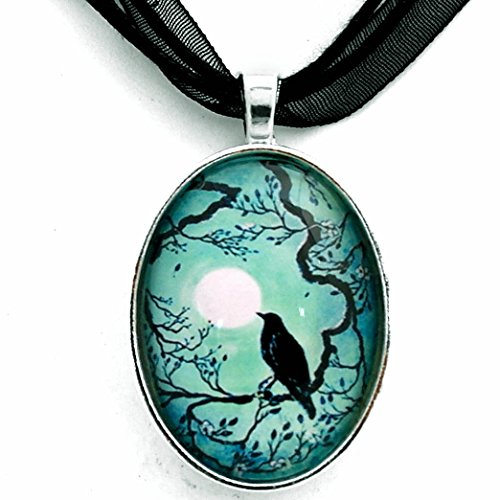 Laura Milnor Iverson Raven Necklace Teal Moon Crow Bird Silhouette Boho Goth Handmade Jewelry Art Pendant