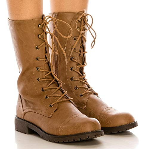 CALICO KIKI Women's Lace up Ankle Combat Boots - Military Mid-Calf Faux Leather Side Zip up Boots (8 US,Tan)