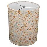 Hardback Linen Drum Cylinder Lamp Shade 8'' x 8'' x 8'' Spider Construction [ Children Doodles Flowers Pattern ]
