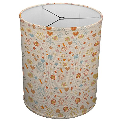 Hardback Linen Drum Cylinder Lamp Shade 8'' x 8'' x 8'' Spider Construction [ Children Doodles Flowers Pattern ] by ArtLights (Image #2)