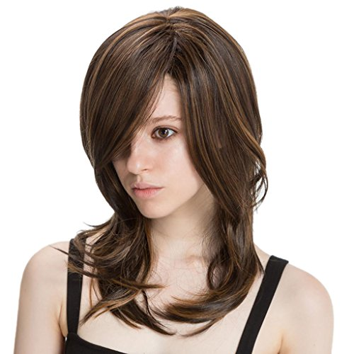 Perfk 女性 ナチュラル ソフト かつら コスプレ 毎日 フルウィッグ 快適 多種類選べる - 混合色  約42cm