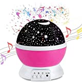 WETONG Star Night Light Children Musical Night Projector Star Light Baby Starry Projector Night Light Kids Rotating Light 12 Soft Music Sensory Baby Night Lights Pink