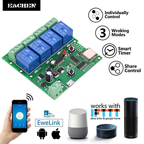 Wireless Relay Control (EACHEN WiFi Wireless Inching Relay Monentary/Self-locking Switch Module DIY Smart Home Remote Control DC 5-32V AC90-260V Ewelink App Compatible With Alexa Echo Google home Nest IFTTT SONOFF (ST-DC4))