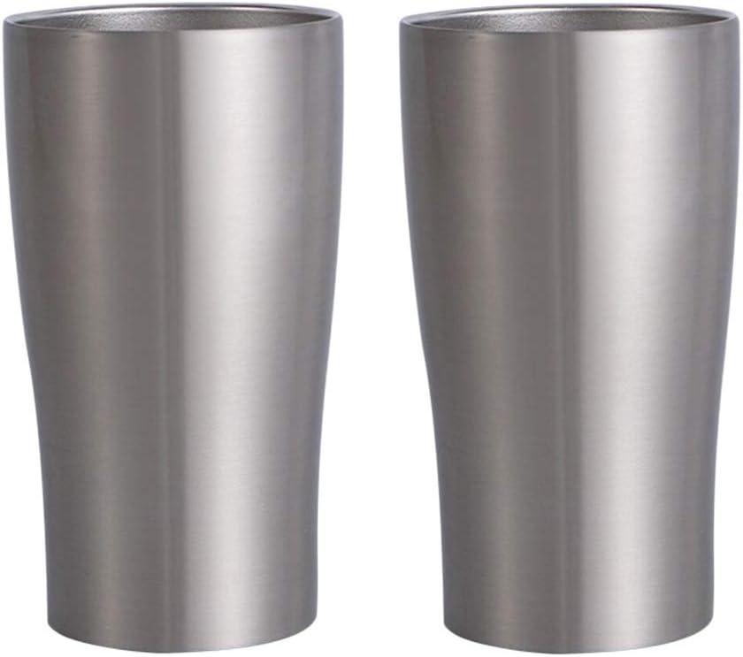 perfeclan 2X Taza de Cerveza Copa de Vino Vaso de Jugo de Doble Pared de Acero Inoxidable Aislado para Camping Picnic