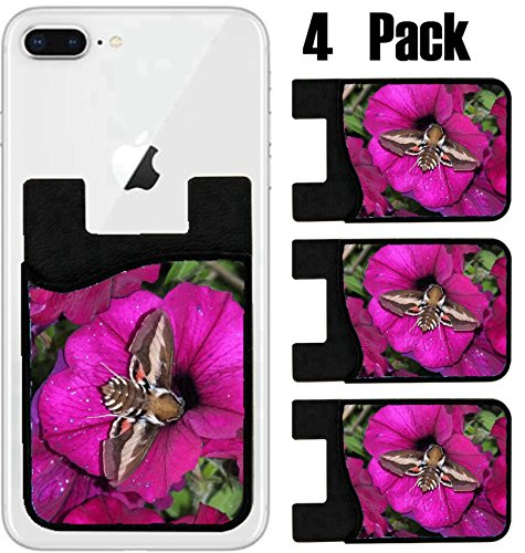 MSD Phone Card holder, sleeve/wallet for iPhone Samsung Android and all smartphones with removable microfiber screen cleaner Silicone card Caddy(4 Pack) A hawkmoth taking nectar from a petunia bloom - Order New Nectar Card A