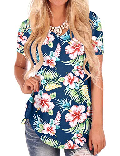 NIASHOT Tropical Print T Shirt for Summer Short Sleeve Tees Basic V Neck Tops Blue S -