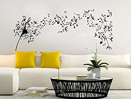 Dandelion Wall Decal Flowers Music Musical Notes Nature Plants Home Interior  Design Art Mural Vinyl Sticker