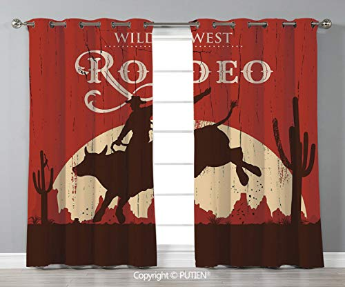 Grommet Blackout Window Curtains Drapes [ Vintage,Rodeo Cowboy Riding Bull Wooden Old Sign Western Wilderness at Sunset Image,Redwood Orange ] for Living Room Bedroom Dorm Room Classroom Kitchen Cafe