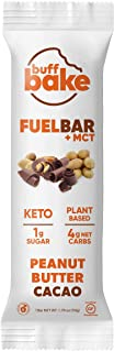 product image for Buff Bake Fuel Bar + MCT | KETO FRIENDLY | Plant Based | Non-Dairy | Vegan |12g of Protein | 1g Sugar | 4g Net Carbs | Gluten Free (Peanut Butter Cacao), 1.76 Ounce (Pack of 12)