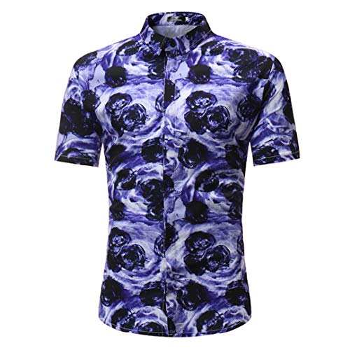 (TEMPARFIUQ 3D Swirl Print Beach Shirt Men Summer Casual Shirts Show M)