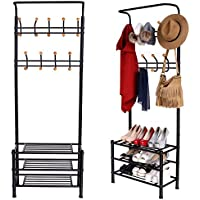 Garain Multifunctional Heavy Duty Garment Rack 18 hooks Black Metal Clothes Coat Hat hanger 3 Tier Shoe Storage Shelf