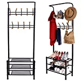 Garain Multifunctional Heavy Duty Garment Rack 18 hooks Black Metal Clothes Coat Hat hanger 3 Tier Shoe Storage Shelf