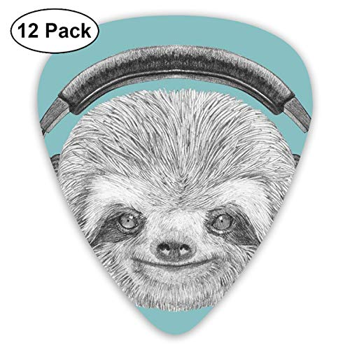 Guitar Picks 12-Pack,DJ Sloth Portrait With Headphones Funny Modern Character Cool Cute Smiling