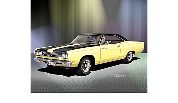 1969 PLYMOUTH ROAD RUNNER MOPAR MUSCLE CAR PRINT FROM ORIGINAL DRAWING