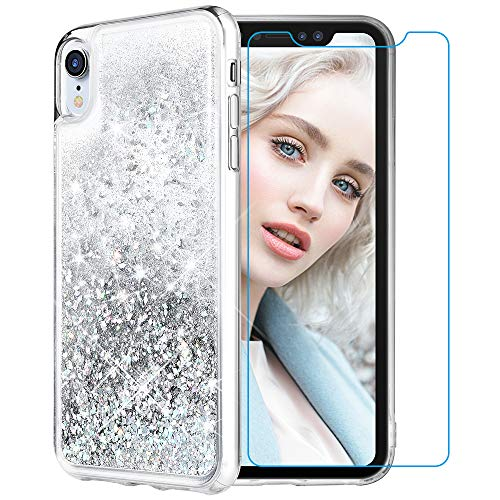 - Maxdara Case for iPhone XR Glitter Case Tempered Glass Screen Protector Floating Liquid Bling Sparkle Luxury Pretty Fashion Girls Women Case XR 6.1 inches (Silver)