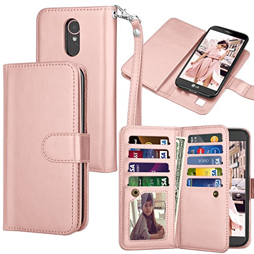 Tekcoo Compatible for LG K20 V/LG K20 Plus/LG Harmony/LG Grace/LG V5 / K10 2017 PU Leather Wallet Case, Luxury ID Credit Card Slots Holder Flip Cover [Detachable Magnetic Hard Case] -Rose Gold