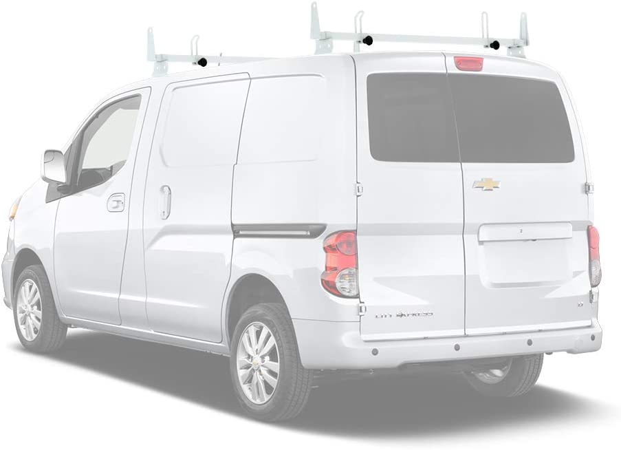 """AA-Racks Model X202-CH Compatible Chevy City Express 2013-2017 Heavy Gauge Steel 2 Bar (50"""") Van Roof Rack System w/Ladder Stopper White"""