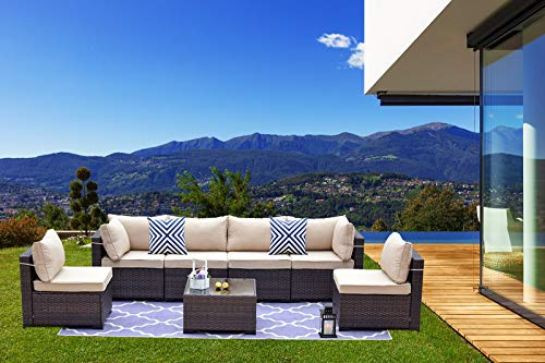 Garden and Outdoor Gotland 7 Piece Outdoor Patio Furniture Sets All-Weather Outdoor Sectional Furniture PE Wicker Patio Sofa Backyard Deck… patio furniture sets