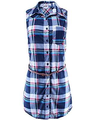 Ladies' Code Women's Sleeveless Plaid Button Down Shirt Dress with Belt