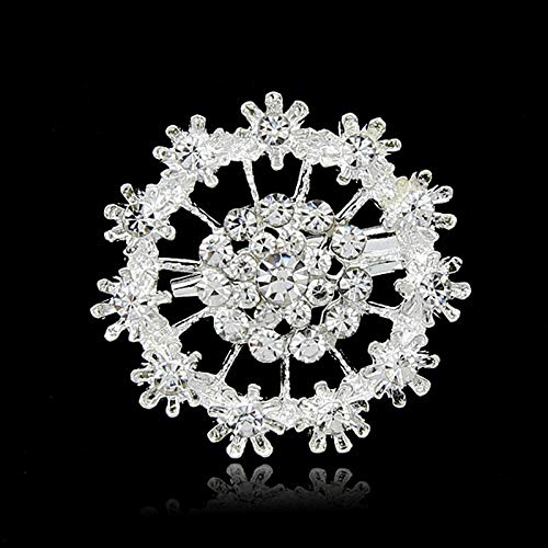 - Luxurious Pretty Glamorous Flower Crystal Rhinestone Silver-Color Brooches for Women Brooch Pins Jewelry