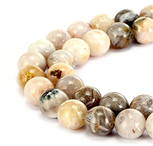 Leaf Silver Agate Necklace (Top Quality Natural Bamboo Leaf Agate Gemstone 8mm Round Loose Stone Beads 15.5