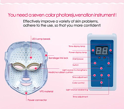 Phototherapy Trichromatic Color LED Mask Instrument Cold Light LED electronic Mask Instrument Professional Beauty Rejuvenation Instrument Therapy Facial Skin Care Mask Device by Simpled (Image #6)