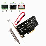 QNINE M.2 PCIe SSD to PCIe 3.0 x4 and M.2 SATA SSD to SATA III Adapter Card, Support NGFF M + B Key SSD Card Adapter Converter to Desktop with Low Profile Bracket (SSD not included)