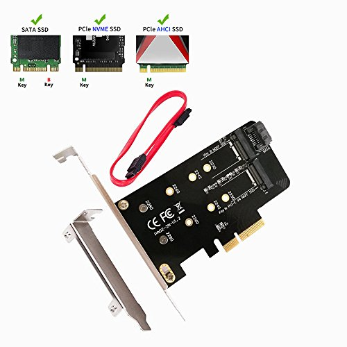 QNINE M.2 PCIe SSD to PCIe 3.0 x4 and M.2 SATA SSD to SATA III Adapter Card, Support NGFF M + B Key SSD Card Adapter Converter to Desktop with Low Profile Bracket (SSD not included) by QNINE (Image #5)