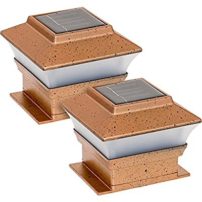 2 Pack Solar Powered Copper Outdoor Garden Deck Patio Fence Pathway Post Light for 4x4 Wood Posts