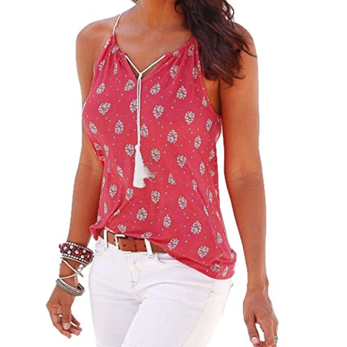 DaySeventh Women Sleeveless Casual Blouse Ventilative Hollow Out Slim Tank Tops (M, Type 2 Hot Pink) from DaySeventh