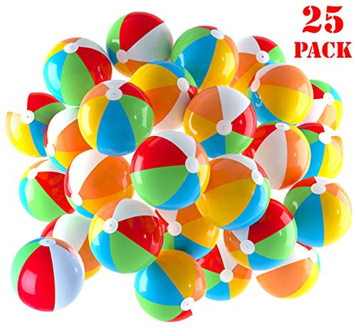 Inflatable Beach Balls 5 inch for The Pool, Beach, Summer Parties, Gifts and Decorations | 25 Pack Mini Blow up Rainbow Color Beach Balls (25 Balls) -