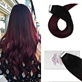 Moresoo 18 Inch Tape in Hair Extensions Human Hair Thick 20pcs 50g Seamless Hair Skin Weft Extentions Balayage Color #1B Off Black Fading to #99J Wine Red Real Human Hair