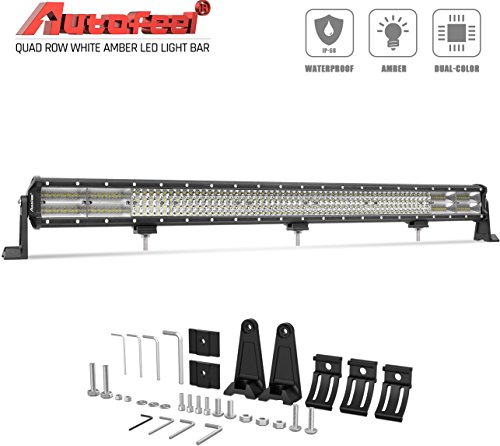 LED Light Bar, Autofeel 36 inch 576W Quad Row Driving Lights Emergency Lights Fog Light Snow Lights Flashing Amber Light Spot Flood Combo Beam Light Bar Off Road Lights for Truck Jeep ATV UTV Wrangler