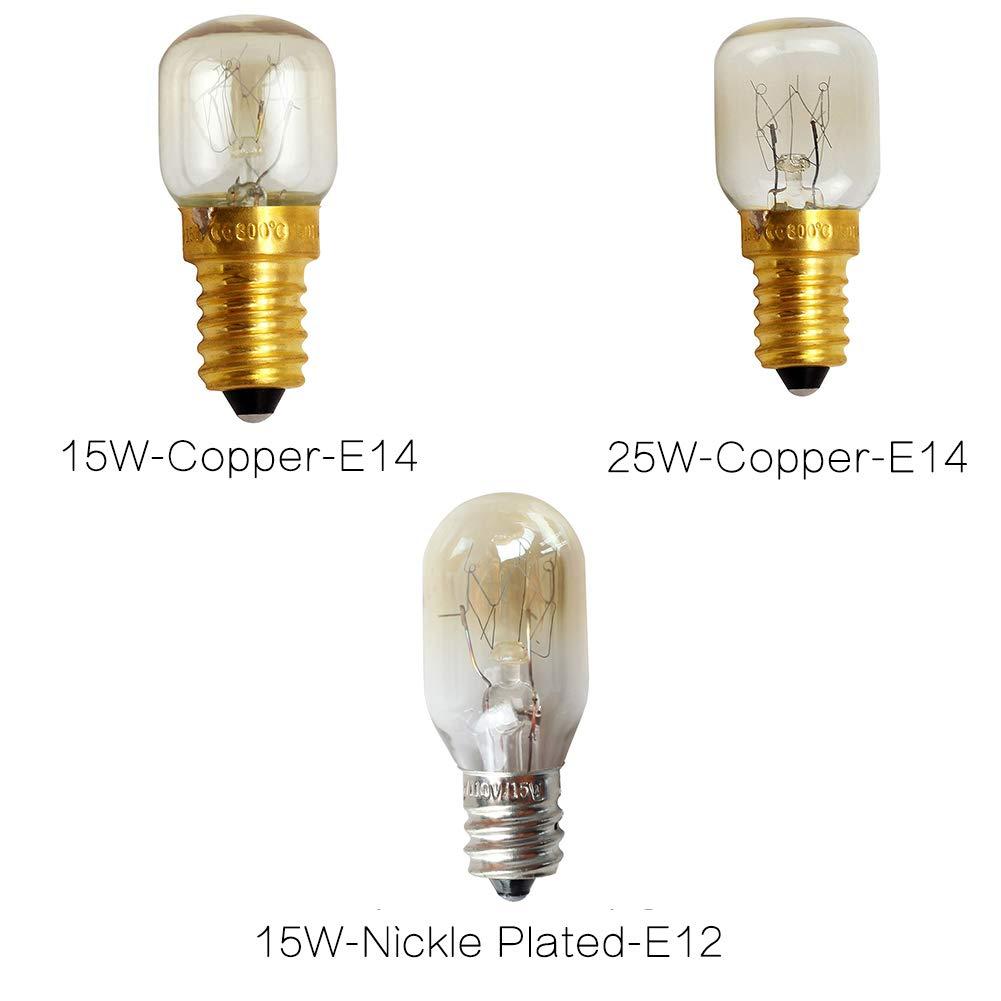 Bombilla Aries E12 15W-Cobre-E14 E14 Base de cobre resistente al calor por microondas 15W 25W Incandescente S/úper brillante Luz de sal profesional duradera F/ácil de reemplazar