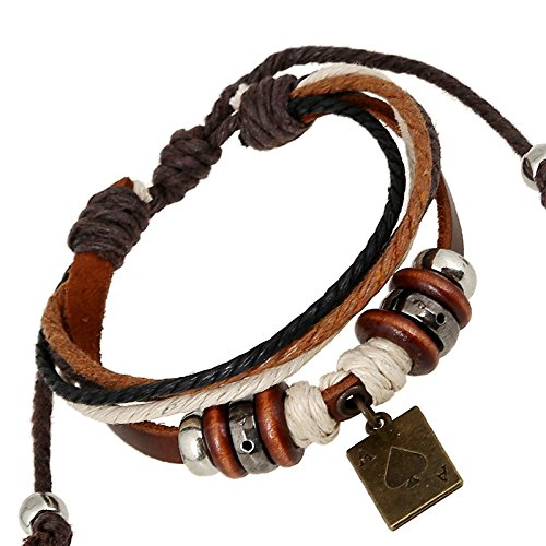 Tourist Area Hot fashionable men and women leather bracelet hand-beaded pendant poker leather punk national wind