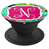 Personalized Pop Socket N Initial Tropical Flowers Monogram - PopSockets Grip and Stand for Phones and Tablets
