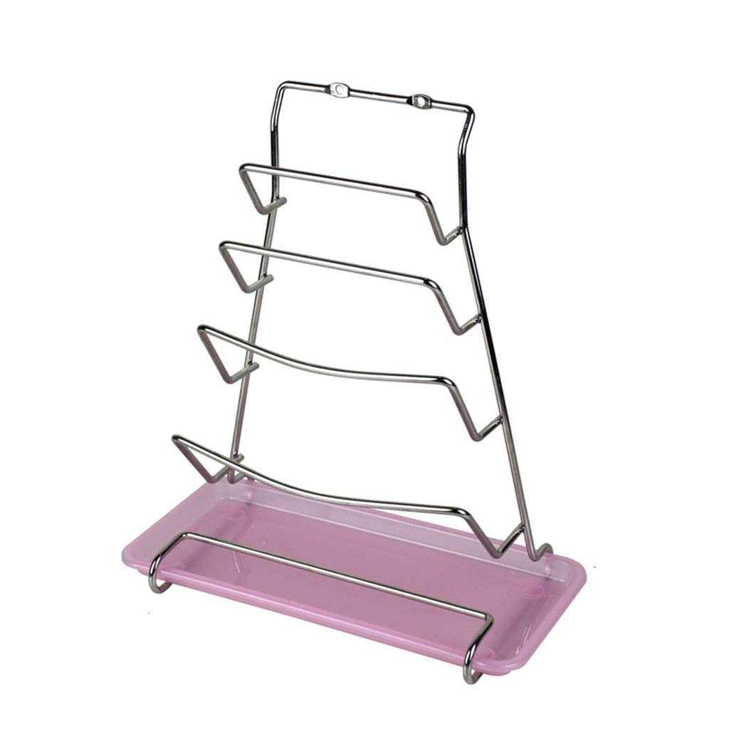 AYX Cover Organizer Stainless Steel Easy To Handle Kitchen Lid Organizer Home Multi-function Lid Storage Rack (Color : PINK, Size : 322414CM) by AYX