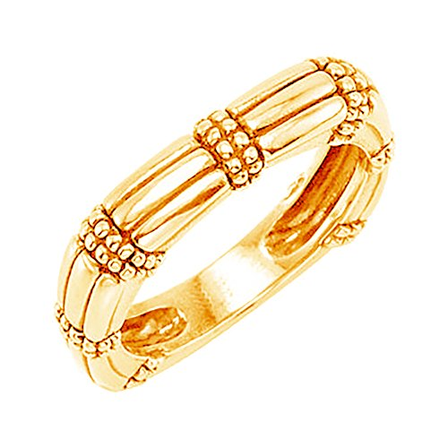Antiqued Granulated Square Stackable 4.6mm 14k Yellow Gold Ring, Size 7 by The Men's Jewelry Store (for HER)