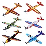 "Toys : iBaseToy 24 Pack Flying Glider Plane - 8"" Long, 6 Different Designs, Sturdy Construction, Easy Assembly - Perfect Party Favors for Kids Boys Girls"