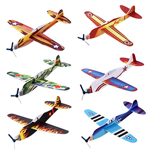 "iBaseToy 24 Pack Flying Glider Plane - 8"" Long, 6 Different"